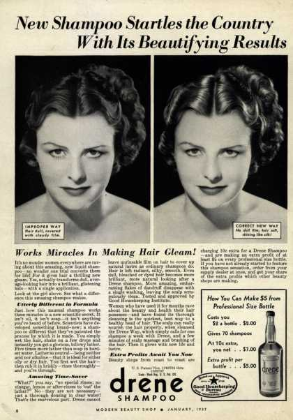 Procter & Gamble Co.'s Drene Shampoo – New Shampoo Startles the Country With Its Beautifying Results (1937)
