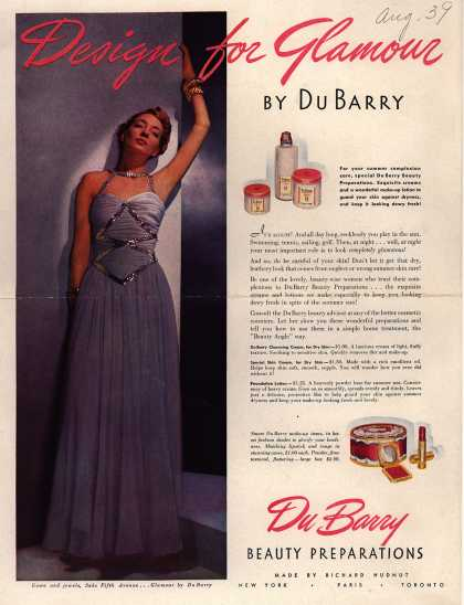Richard Hudnut's DuBarry creams – Design for Glamour (1939)