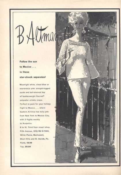 B Altman Mexico Fashion Pants Top (1966)