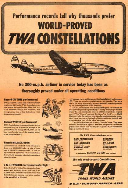 Trans World Airline's Constellations – Performance records tell why thousands prefer World-Proved TWA Constellations (1948)