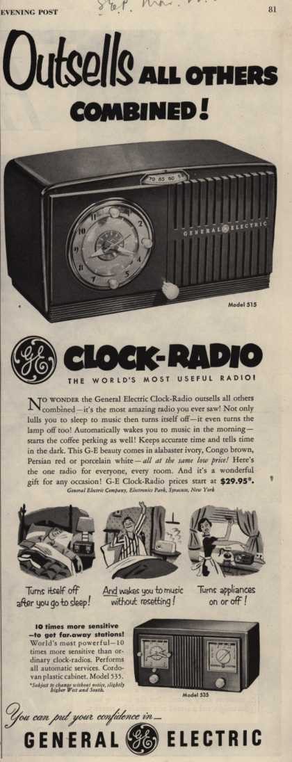 General Electric Company's GE Clock-Radio – Outsells All Others Combined (1952)