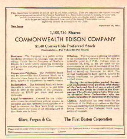 Commonwealth Edison Company Securities (1952)