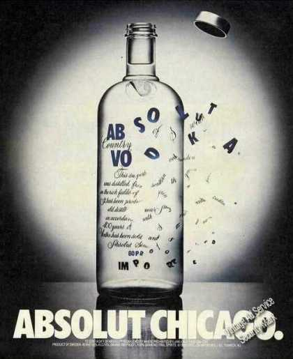 Absolut Chicago Collectible Vodka (1991)