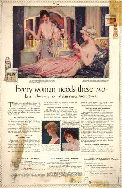 Pond's Extract Co.'s Pond's Cold Cream and Vanishing Cream – Every woman needs these two - (1920)