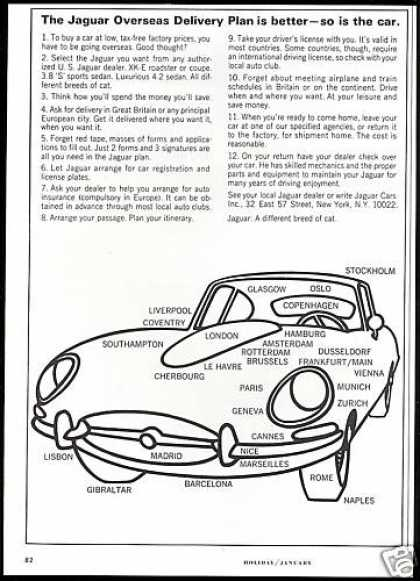 Jaguar XK-E XKE Car Overseas Delivery (1966)