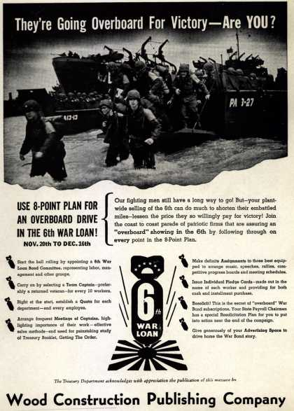 Treasury Department's 6th War Loan – They're Going Overboard For Victory – Are YOU? (1944)