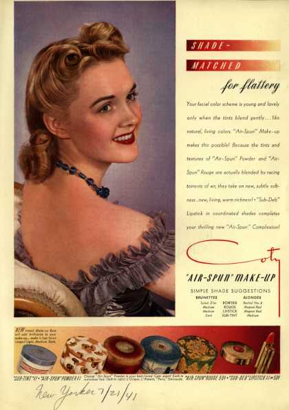 Coty's Air-Spun Make-Up – Shade-Matched for flattery (1941)