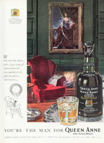 Queen Anne Scotch Whisky Bottle (1958)