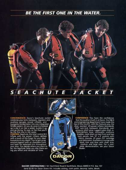 Dacor Seachute Bc System Jacket Wet Suit (1980)