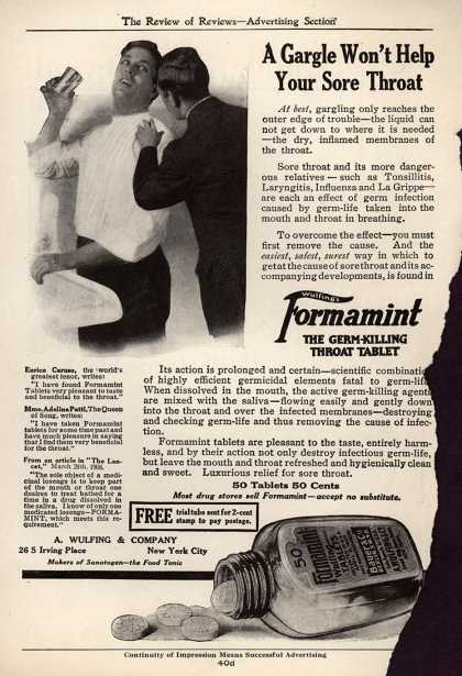 A. Wulfing & Company's Wulfing's Formamint – A Gargle Won't Help Your Sore Throat