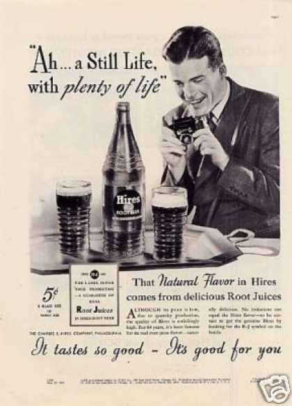 "Hires Root Beer Ad ""Ah...a Still Life... (1937)"