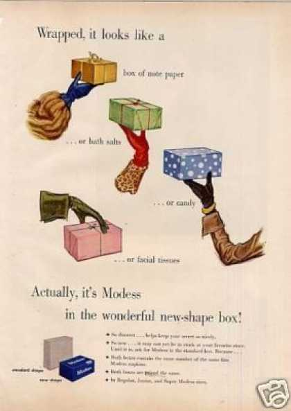 "Modess Sanitary Napkins Ad ""Wrapped, It Looks... (1949)"