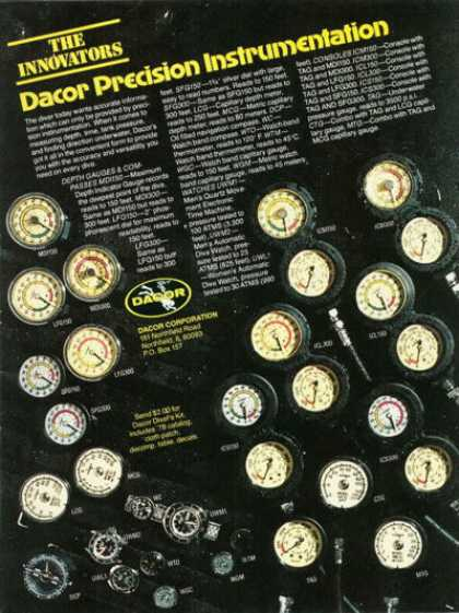 Dacor Precision Diver Instruments Gauges (1978)