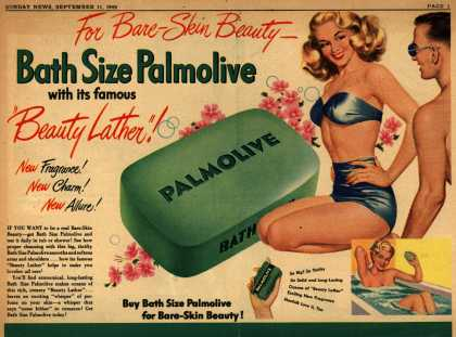 "Palmolive Company's Palmolive Soap – For Bare-Skin Beauty – Bath Size Palmolive with its famous ""Beauty Lather"" (1949)"