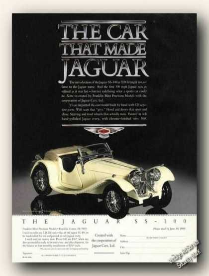 Jaguar Ss-100 Scale Model From 1938 Photo (1989)