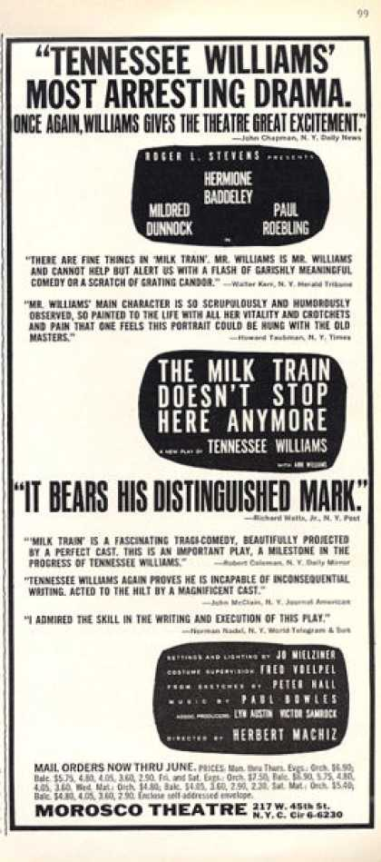 Morosco Theatre the Milk Train Ad Williams (1963)