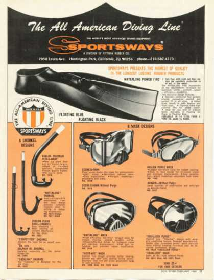 Sportsways Diving Mask Fins Snorkles (1969)