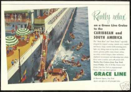 Grace Line Cruise Ship Caribbean S. America (1954)