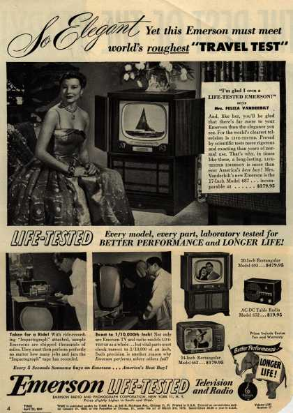 "Emerson Radio and Phonograph Corporation's various – So Elegant Yet this Emerson must meet world's roughest ""Travel Test"" (1951)"