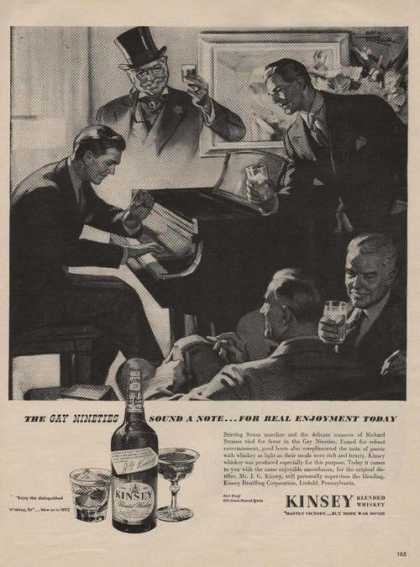 Gay Nineties Kinsey Blended Whiskey Print (1944)