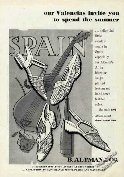 Valencias Sandals Made In Spain Rare B Altman (1956)