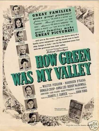 "Movie Ad ""How Green Was My Valley"" (1941)"