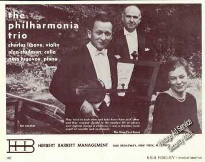 The Philharmonia Trio Photo Rare Ad Music (1967)