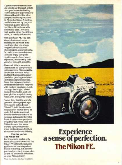 "Nikon FE's ""Experience a sense of perfection"" (1980)"