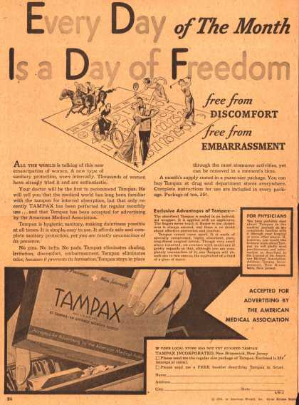 Tampax's Tampons – Every Day of The Month Is a Day of Freedom (1936)