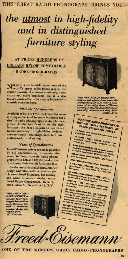 Freed-Eisemann's Radio-Phonograph – This Great Radio-Phonograph Brings You the utmost in high-fidelity and in distinguished furniture styling (1948)