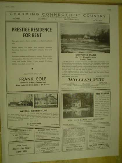 Real Estate Connecticut Frank Cole William Pitt New Canaan Mrs Paul Lundy Camino Gardens Florida Mt Kisco NY Lady Cora II Rockport Yacht Supply (1964)
