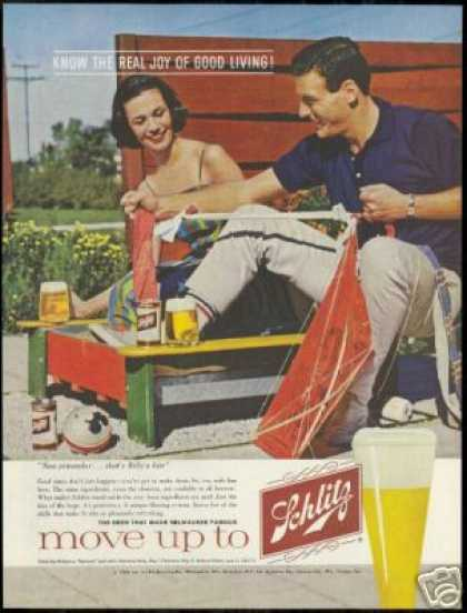 Kite Construction Schlitz Beer Vintage Photo (1960)