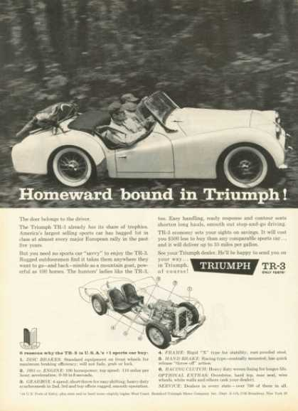 Triumph Tr-3 Sports Car Cutaway Ad Deer Hunting (1959)