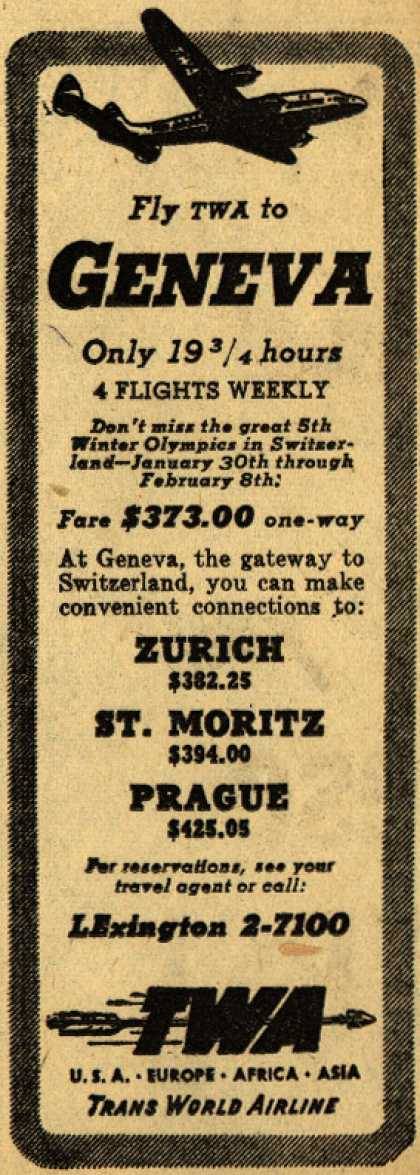 Trans World Airline's Geneva – Fly TWA to Geneva (1947)