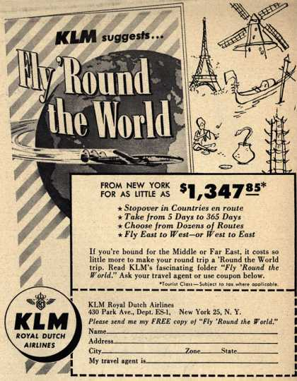KLM Royal Dutch Airline's Around the world flight – KLM suggests... Fly 'Round the World (1954)