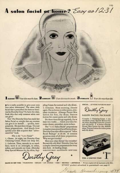 Dorothy Gray – A salon facial at home? Easy as 1 2 3 (1934)