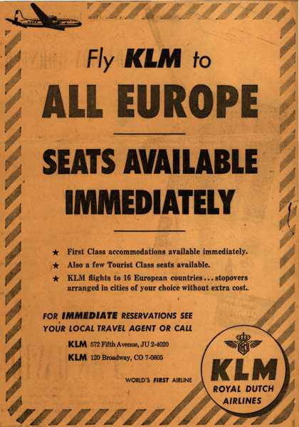 KLM Royal Dutch Airline's Europe – Fly KLM to All Europe Seats Available Immediately (1953)