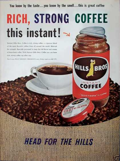 Hills Bros Coffee Bag Coffee Beans Head For Hills (1960)