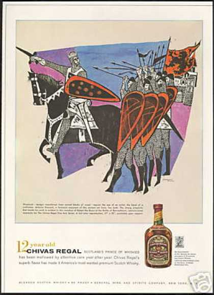 Chivas Regal Scotch Robert The Bruce Woodcut (1959)