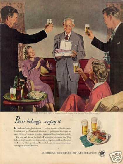 Beer Belongs Ad Douglass Crockwell #35 (1949)