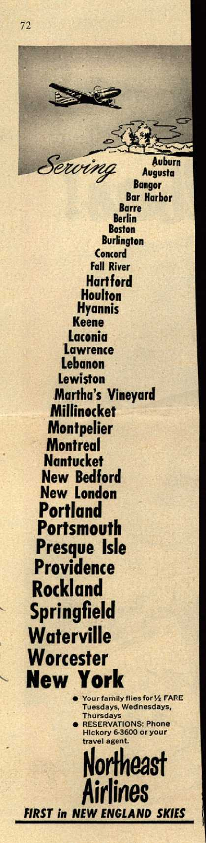 Northeast Airline's New England Destinations – Serving... (1951)