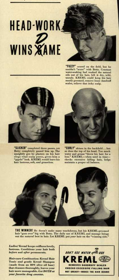 Kreml's hair tonic – Head-Work Wins Dame (1941)