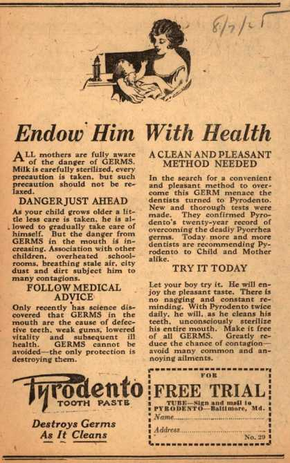 Pyrodento – Endow Him With Health (1925)