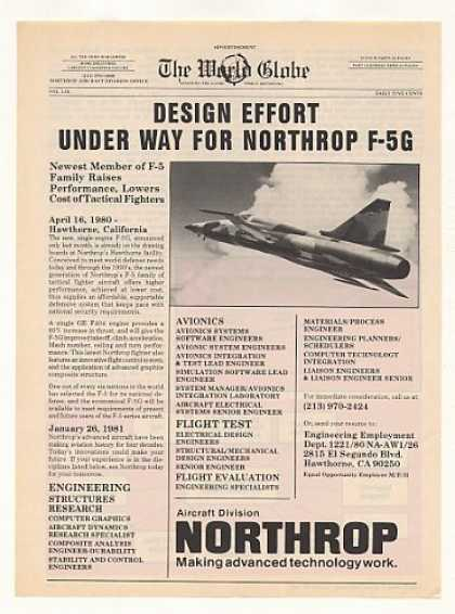 Northrop F-5G Aircraft Design Under Way (1981)