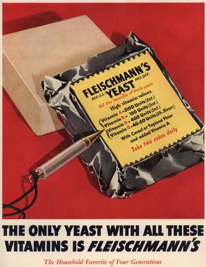 Fleischmann's – The only yeast with all these vitamins is Fleischmann's