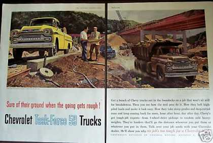 Bridge Construction Art Chevrolet Pickup Trucks (1959)