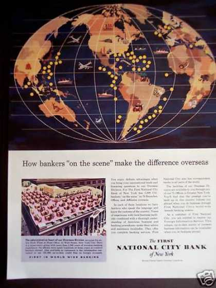 First National City Bank of Ny World Map (1956)