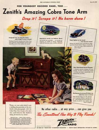 Zenith Radio Corporation's Radio-Phonograph – For Youngest Record Fans, Too...Zenith's Amazing Cobra Tone Arm Drop it! Scrape it! No harm done (1947)