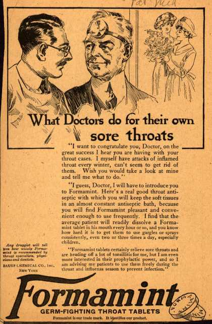 Bauer Chemical Company, Incorporated's Formamint – What Doctors do for their own sore throats (1921)