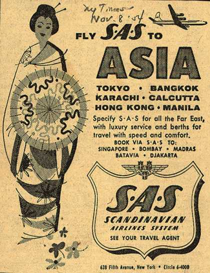 Scandinavian Airlines System's Asia – Fly SAS to Asia (1954)